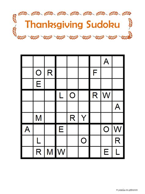 printable holiday sudoku thanksgiving word sudoku
