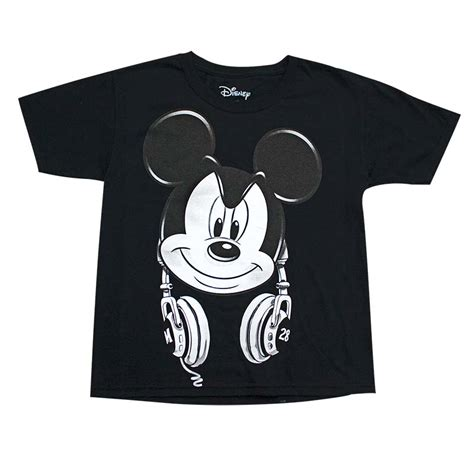 Tshirt Mickey Mouse Black mickey mouse youth boys black headphones t shirt