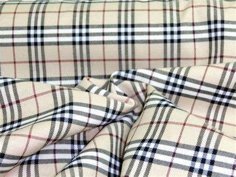 burberry upholstery fabric tan w ivory black red scotch tartan plaid poly by