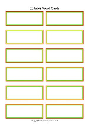 Word Card Editable Template by Editable Primary Classroom Flash Cards Sparklebox
