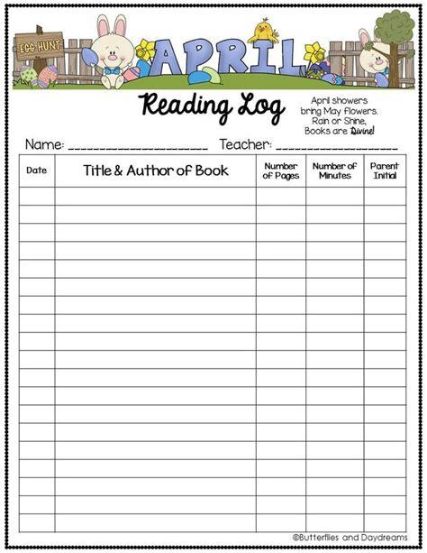 Printable April Reading Log   reading log april showers rain and reading