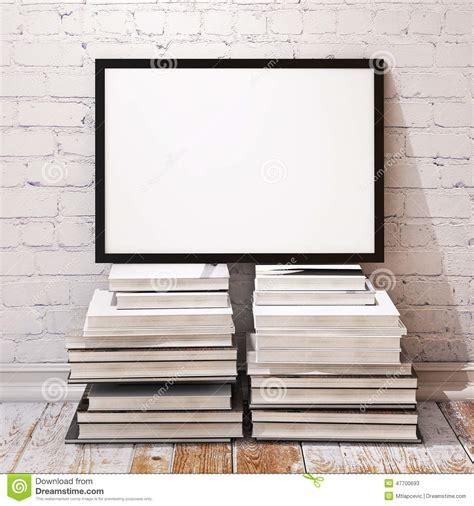 pile interior design mock up poster frame on pile of books in loft interior stock illustration image 47700693