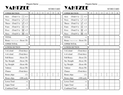 printable yahtzee score card yatzee printable score sheets yahtzee score card all