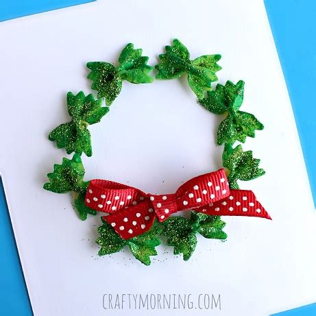 easy wreath crafts bow tie noodle wreath craft for card idea