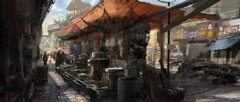 design art market market place exterior digital paintings