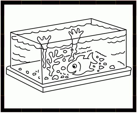 Fish Bowl Coloring Sheet Cliparts Co Fish Tank Coloring Pages