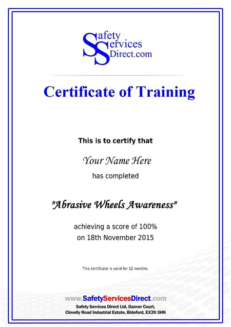 health and safety certificate template certificate template free