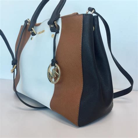 black white brown michael kors sutton tricolor medium black white brown satchel on tradesy