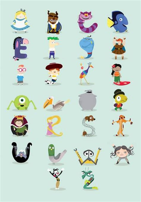 Disney Character Letter X Disney Characters Abc By Mj Da Luz