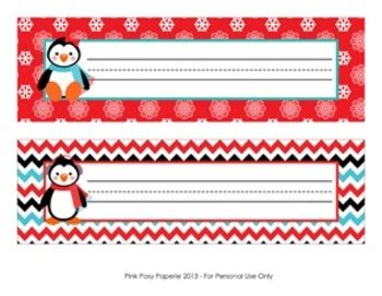 printable penguin name tags christmas winter penguin desk name plates by pink posy