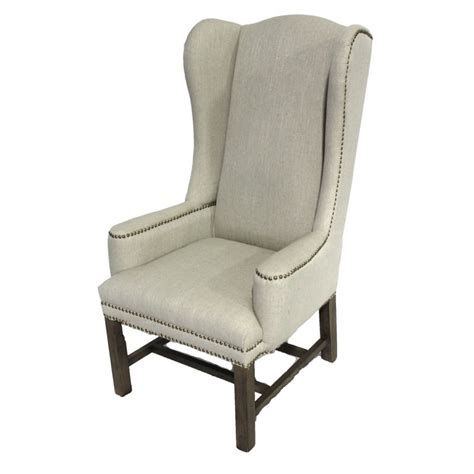 Linen Wing Back Chair Tall Back Dining Chair Wing Back Dining Chairs