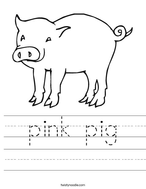 pig coloring page preschool pink pig worksheet twisty noodle