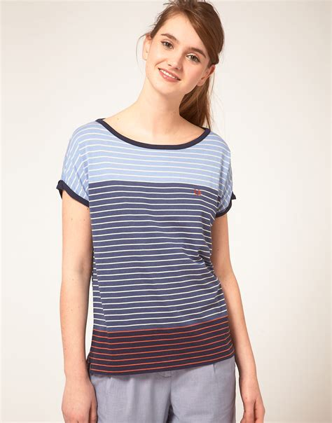 Limited Edition Mix Stripe Knitted Top Terlaris lyst fred perry stripe t shirt in blue