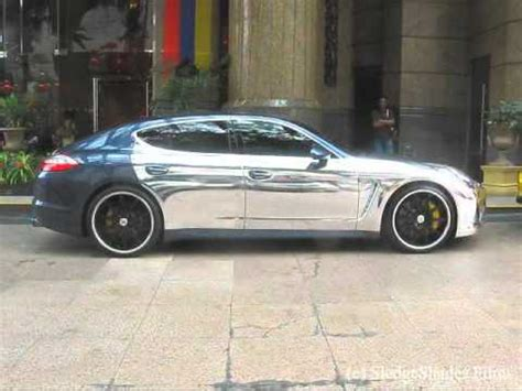 chrome porsche panamera in view presents porsche panamera turbo chrome edition