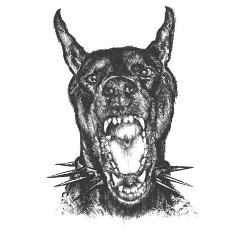vicious barking vicious grey barking doberman in spiny collar design tattooimages biz