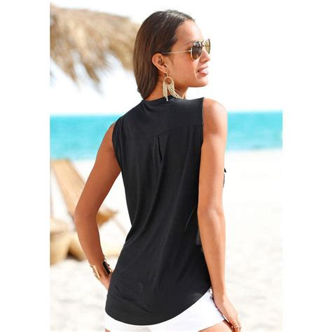 baju pantai wanita sleeveless v neck shirt size m blue jakartanotebook
