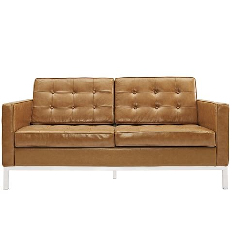 modern leather loveseats loft modern button tufted leather loveseat with steel
