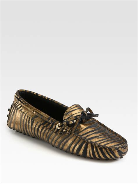 leather moccasin loafers tod s zebra print metallic leather moccasin loafers in