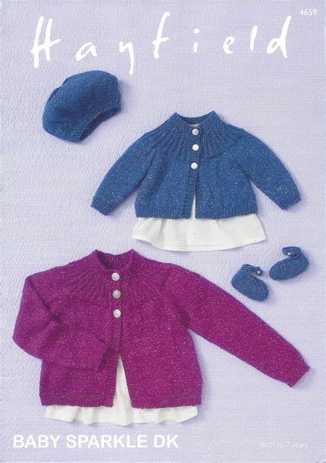hayfield knitting patterns for babies hayfield baby sparkle dk 4659 cardigan beret shoes