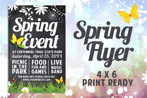 chalk spring flyer flyer templates on creative market