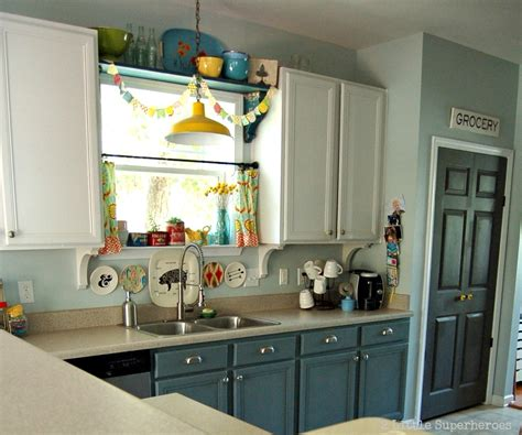 Diy Blue Kitchen Ideas Hometalk Boring To Blue Kitchen Makeover