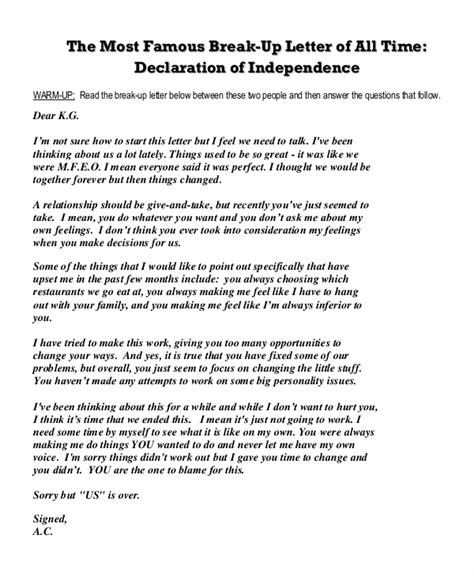 declaration of independence breakup letter exles up letter template 5 free word pdf document