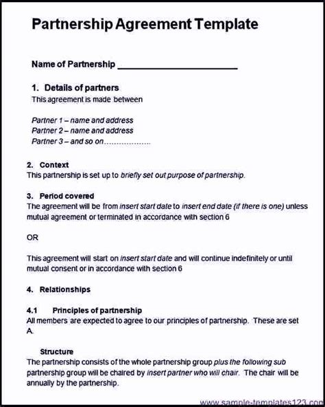 project partnership agreement template project partnership agreement template sle templates