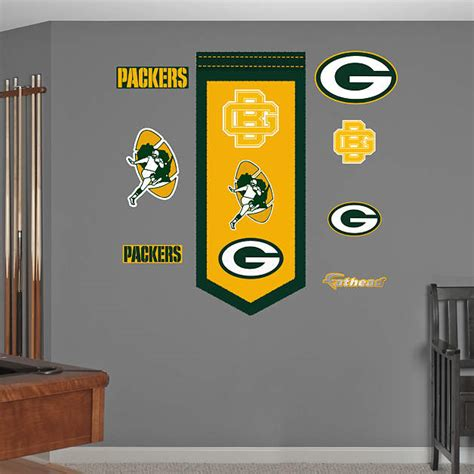 green bay packers home decor green bay packers logo evolution banner wall decal shop