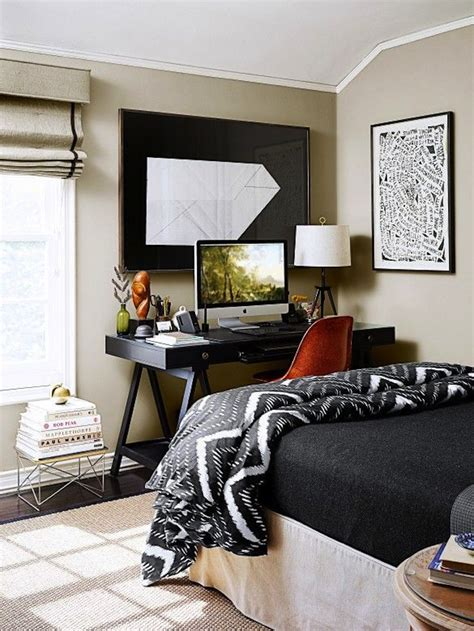 black desk for bedroom 27 cool bedrooms and workspaces in one digsdigs