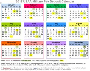 usaa military pay deposit calendar color snip katehorrell