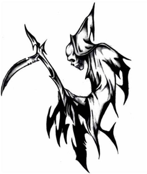 tribal reaper tattoo grim reaper tribal clipart best