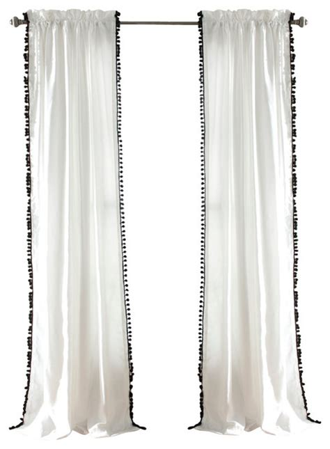 White Curtains With Pom Poms Decorating Pom Pom Window Curtain Curtains By Lush Decor