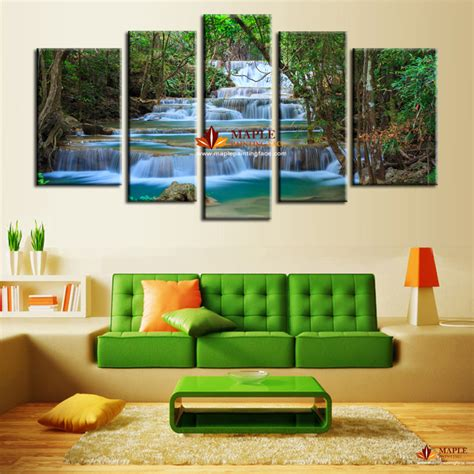 Large Canvas For Living Room by 5 Panel Canvas Waterfall Painting Wall Picture Home