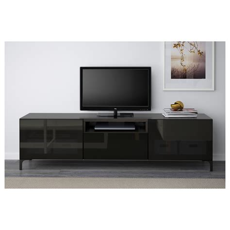 ikea besta black brown best 197 tv bench black brown selsviken high gloss black