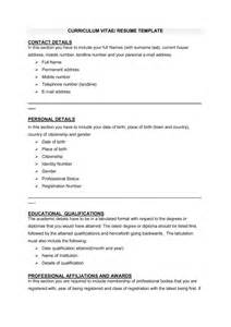 Curriculum Vitae Templates by 48 Great Curriculum Vitae Templates Exles Template Lab