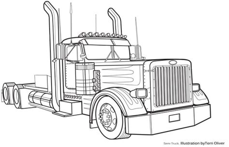 peterbilt semi truck coloring pages sketch coloring page technical drawing semi terrioliverdesign com dessin