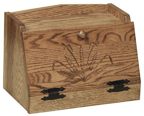 Amish Hardwood Bread Box with Wheat Sheaf Design
