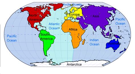 map of continents and oceans image gallery oceans and continents
