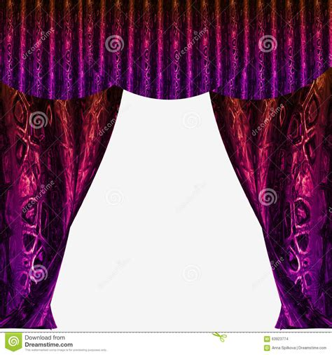 red and purple curtains velvet folded drapery with glittering abstract pattern