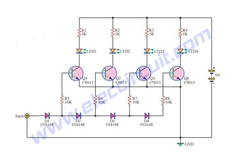 transistor npn led analog vu meter circuit using transistors