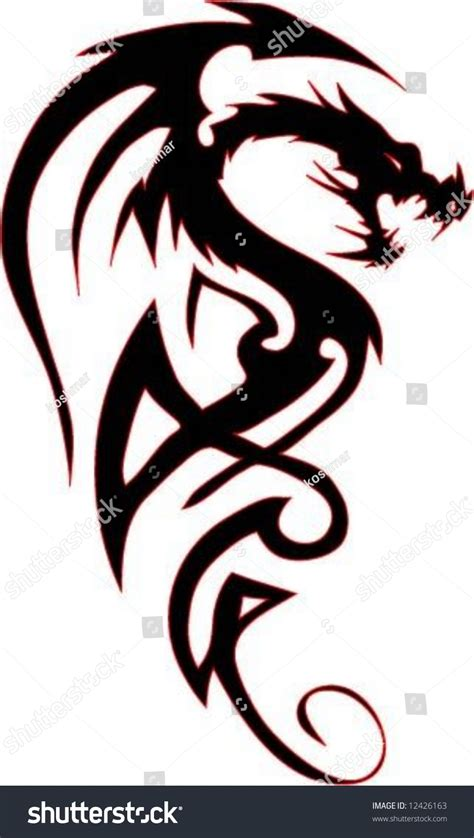 dragon tattoo vector illustration for stock vector 12426163