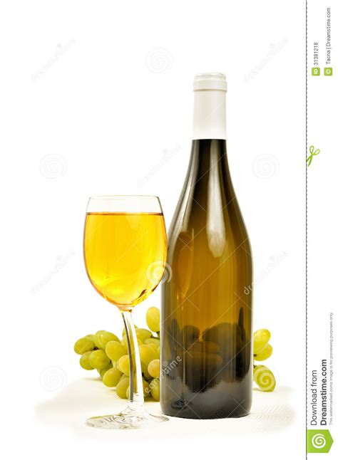 In The Bottle By Maxcyber Cloth glass with wine and bottle royalty free stock photos