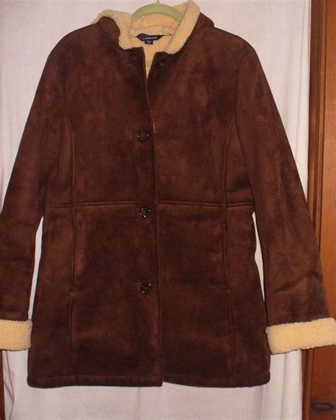 lands  brown faux suede faux sherling lining womens