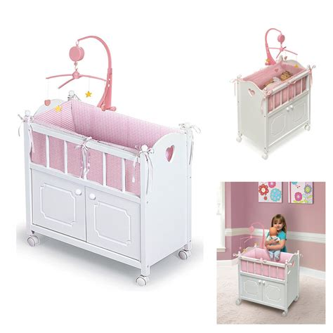 baby doll crib american dolls furniture white cradle