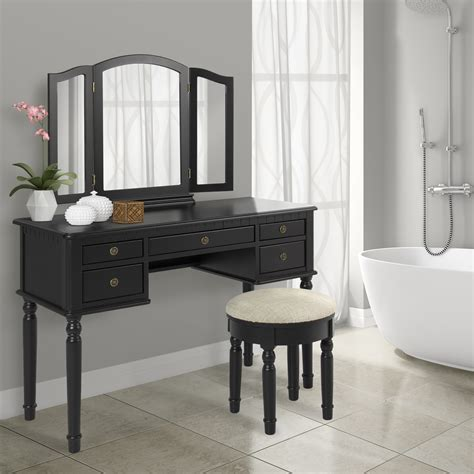 Dressing Table Vanity Sets by Bathroom Tri Mirror Vanity Makeup Table And Bench Hair