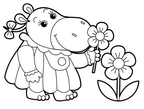 Rhino Kid Smelling Flowers Free Coloring Page Animals Kids Coloring Pages Kid Pictures To Color