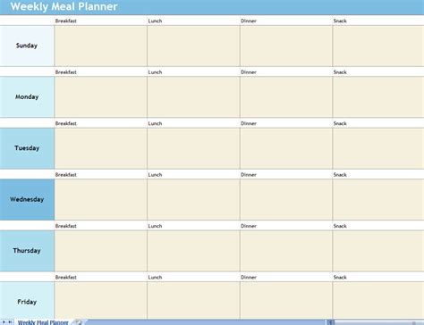Weekly Meal Planner Excel Spreadsheet Weekly Meal Planner Weekly Meal Planner Template With Snacks