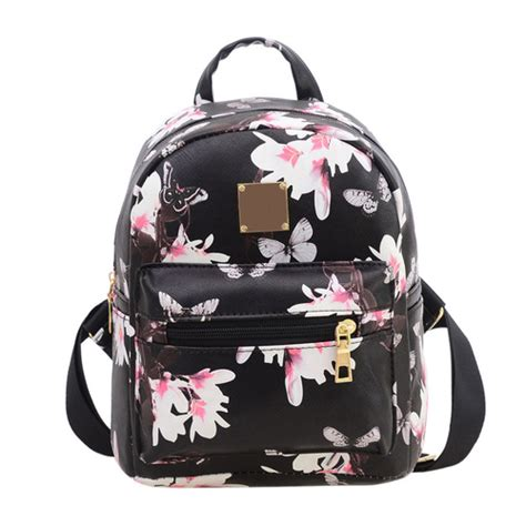 Travel Bag Mini Frozen Flower Leather Backpack With Gold Zipper And Tassel