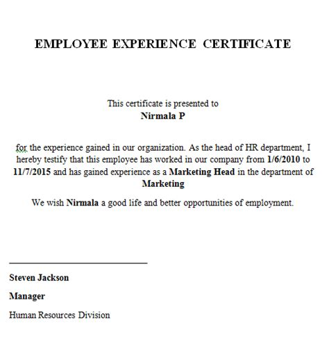 Experience Certificate Format Letter Marketing Executive Work Experience Letter Format From Company Cover Letter Templates