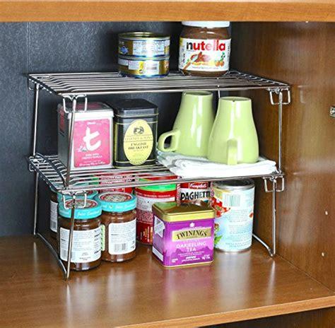 Stackable Kitchen Cabinet Organizer 2 Pack Decobros Stackable Kitchen Cabinet Organizer Chrome Desertcart